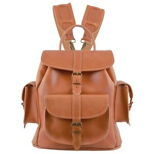 NEW TAN LEATHER RUCKSACK backpack DESIGNER RETRO  by Grafea