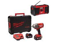 """Milwaukee M18ONEFHIWF12-502X 18v ONE KEY Fuel 1/2"""" Impact Wrench Kit + 18v DAB Site Radio"""