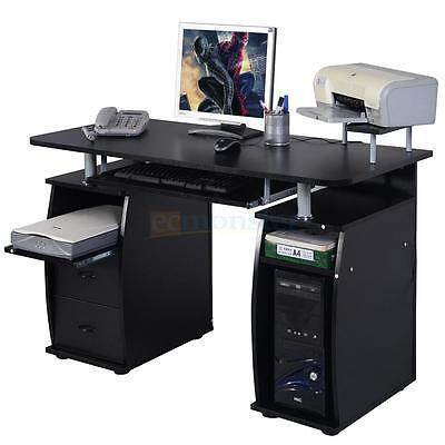 Computer Pc Desk Work Station Office Home Raised Monitor Printer Shelf Furniture