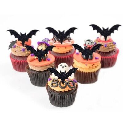 12pcs Halloween Bat Cake Topper Cupcake Flag Kids Baby Happy Birthday Party - Kids Halloween Birthday Cakes