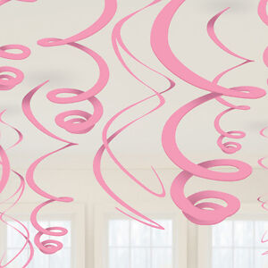 12 x Pale Pink Hanging Swirls Party Decorations Hanging danglers wedding marquee