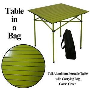 Table in a Bag TA2727G Tall Aluminum Portable Table with Carrying Bag, Green Condtion: Lightly used, Green