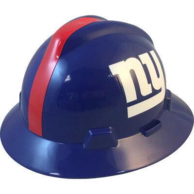 MSA V-Gard FULL BRIM NEW YORK GIANTS NFL Hard Hat Type 3 RATCHET Suspension