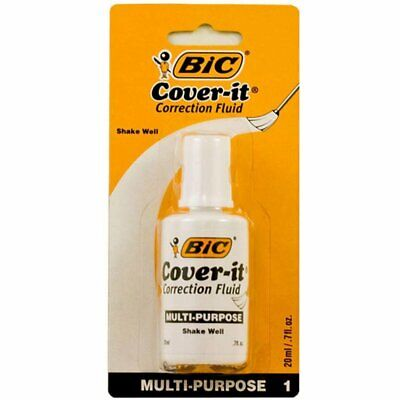 1 X Bic 20ml 0.7 Fl. Oz. Wite-out Cover It Correction Fluid Free Shipping