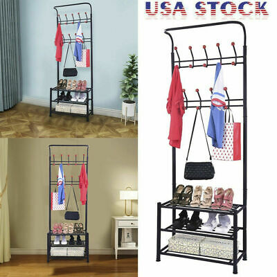 Coat Rack with 3-Tier Shoe Rack Hall Tree Bench Organizer with Shoe Stor+18 Hook ()