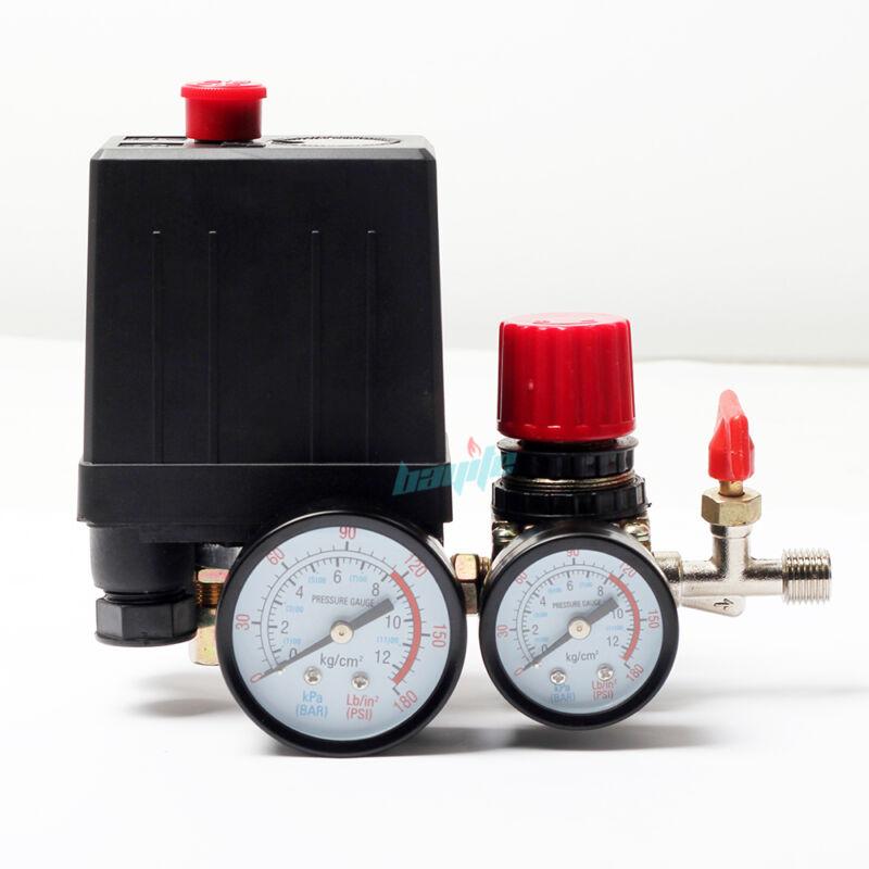 120PSI Air Compressor Pressure Switch Control Manifold Regulator Gauges Fittings