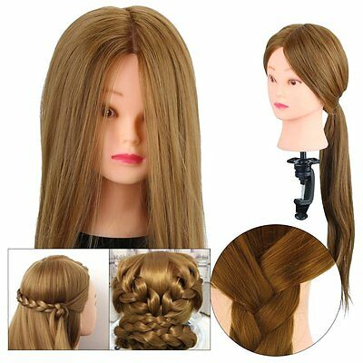 Salon Hairdressing Training head with 30% Real Human Hair Mannequin Doll + Clamp