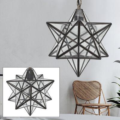 Star Glass Ceiling Lamp Hallway Pendant Light Corridor Chandeleir Clear Light