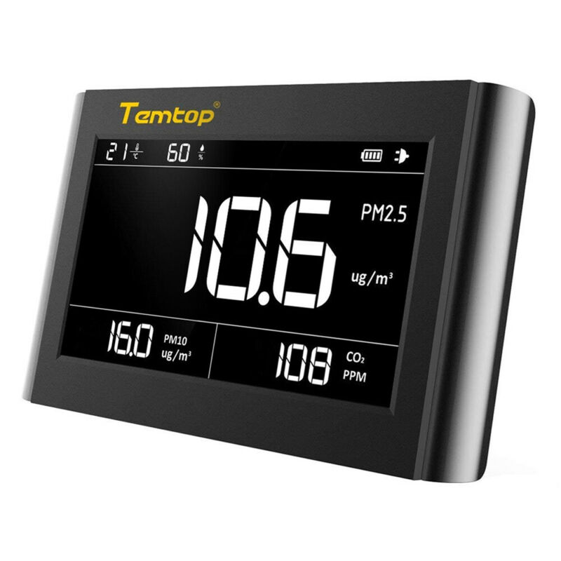 Temtop P1000 Air Quality Monitor Temperature Humidity PM10 PM2.5 CO2 LCD Screen