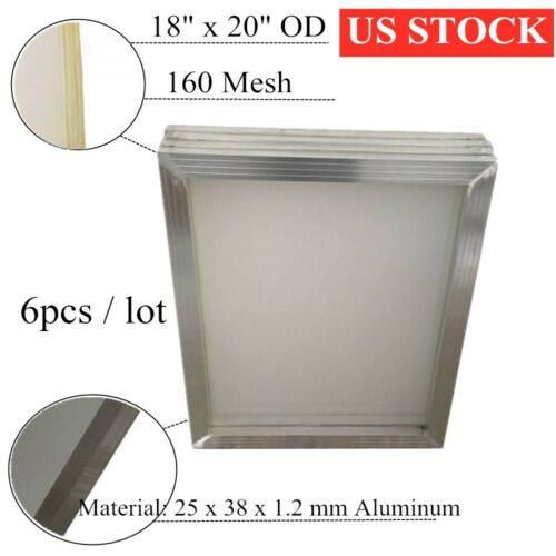 """6pcs 18"""" x 20"""" Aluminum Screen Printing Screen Frame With 160 White Mesh Count"""