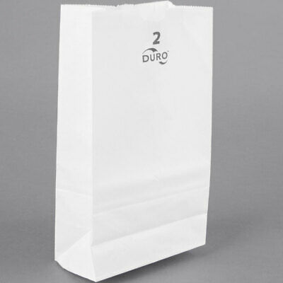 2LB WHITE DURO PAPER GROCERY BAGS, 4 5/16