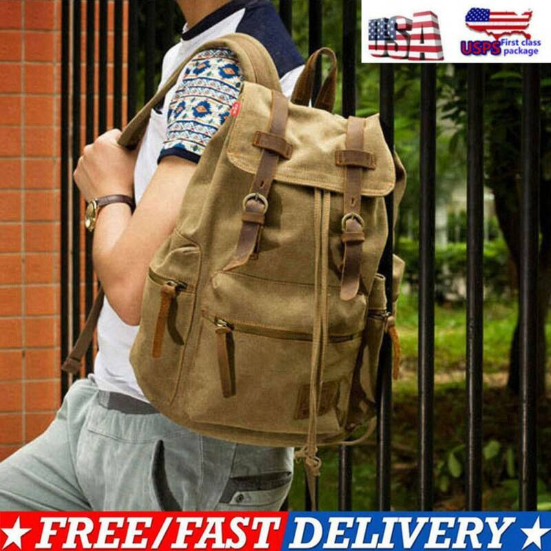 Canvas Travel Sport Camping School Satchel Laptop Hiking Bag
