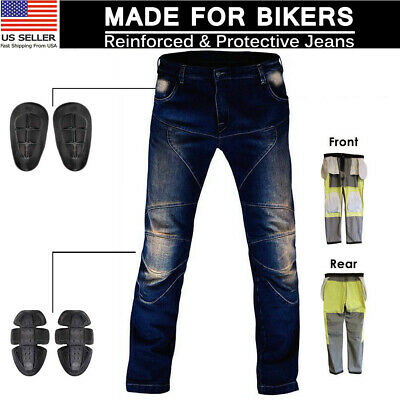 Blue Denim Motorcycle Pant (Motorbike Motorcycle Biker Jeans Aramid Lined Protective Armour Trouser Pants )