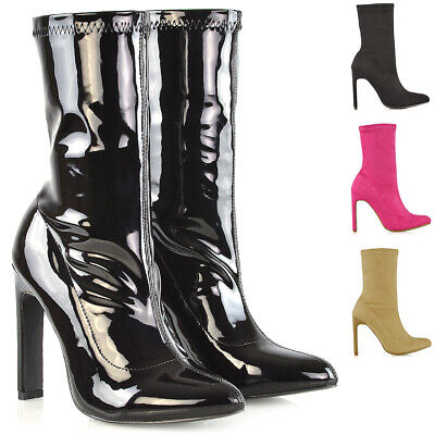 Womens Block High Heel Ankle Boots Ladies Pull On Stretch Sock Booties Shoes 3-8 - Stretch High Heel Boot