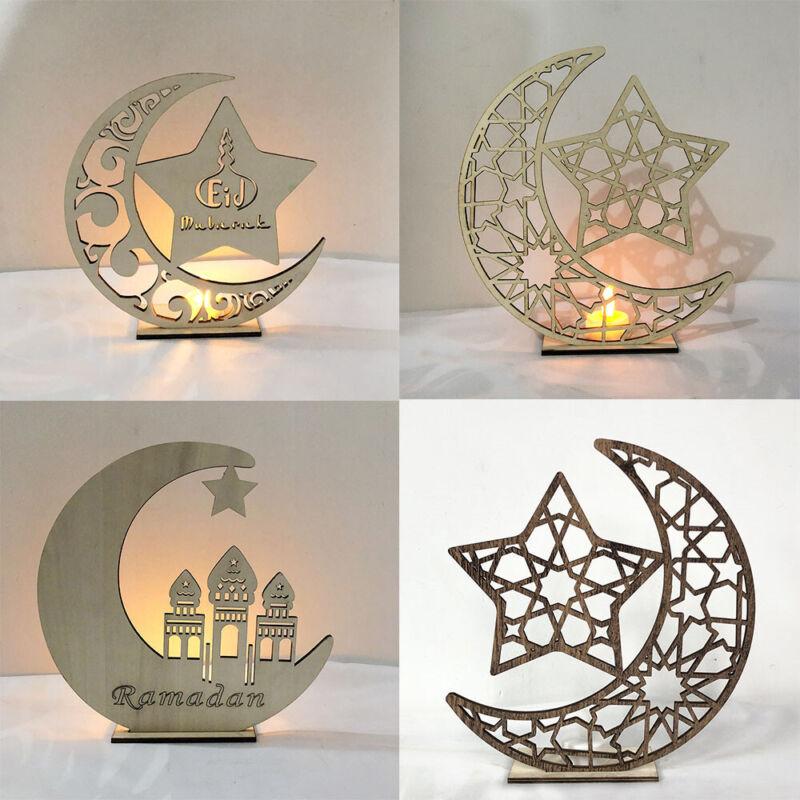 LED Wooden EID Mubarak Plaque Moon Star Ramadan Ornament Muslim Decoration Gift
