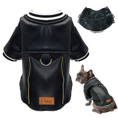Black Dog Leather Jacket Cool Waterproof Dog Clothes Jumpsuit Outfit for Pitbull