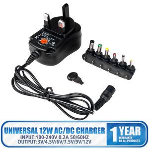 Multi-functional 12W AC/DC Power Charger Adapter Heads 3v 4.5v 6v 7.5v 9v 12v UK