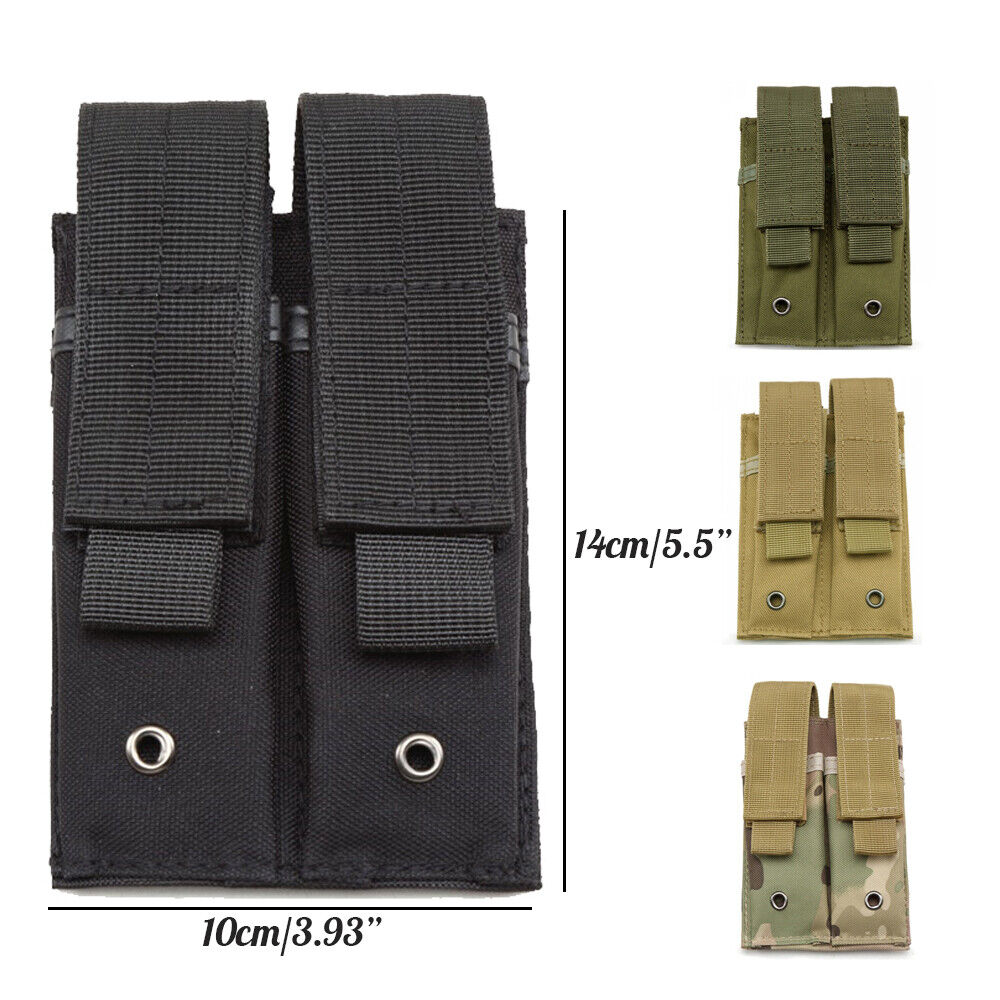 Outdoor Double Pistol Mag Pouch Molle Tactical EDC EMT Tool Organizer Holder Hunting