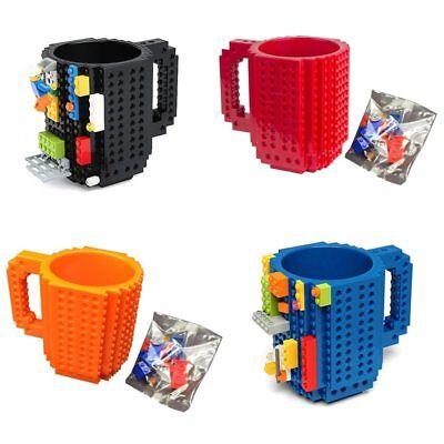 Plastic Coffee Mug (Build A Brick Mug Cup 350ml Creative Milk Mugs Coffee Build-on Lego)