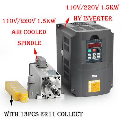 1500w 1.5kw Air Cooled Cnc Spindle Motor Inverter Converter 13pcs Er11 Collet