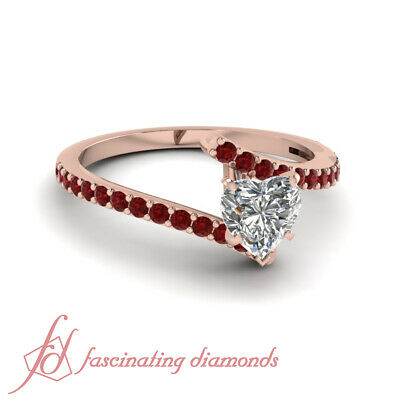 14K Rose Gold Engagement Rings For Her 3/4 Ct Heart Shaped Diamond & Ruby GIA
