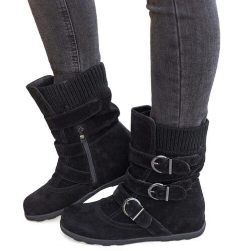 Boots Ladies Fur Buckle Shoes Booties