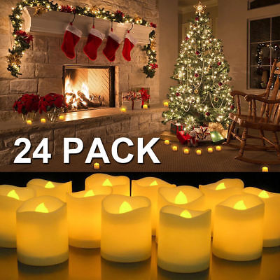 24 PCS Flameless Votive Candles Battery Operated Flickering LED Tea Light](Battery Tealight)