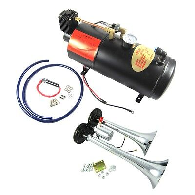 New Train Horn Kit Loud Dual 2 Trumpet w/ 120 PSI Air Compressor Complete (Complete Train Horn)