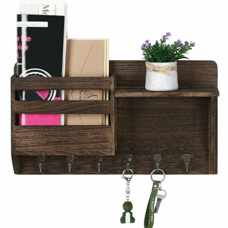 Wall-Mounted Mail Rack Holder with 7 Key Hooks Envelope Organizer For Entryway
