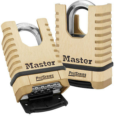 Master Lock 1177 Proseries Shrouded Brass Resettable Combination Padlock