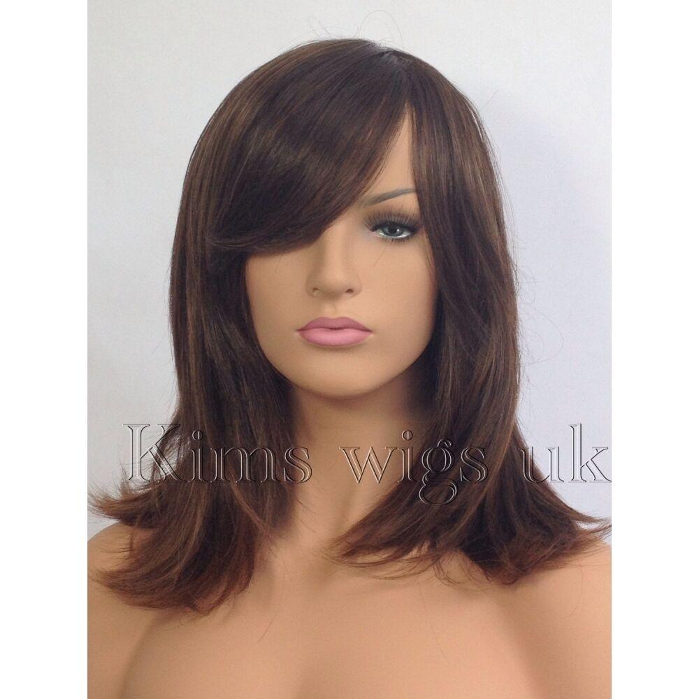 complet femmes perruque cheveux tendances deux tons brun longueur paule visage. Black Bedroom Furniture Sets. Home Design Ideas