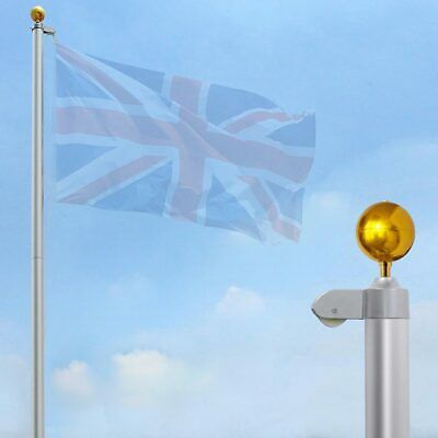 20ft Flagpole Aluminium 5 Sections Flag Pole & Gold Ball Kit