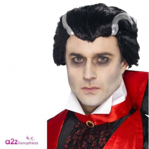 Men/'s Gothic Vampire Wig Black White Dracula Adult Halloween Costume Accessory