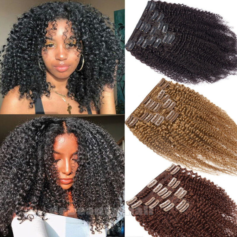 4B 4C Clip In Afro Kinky Curly Unprocessed Human Hair Extens