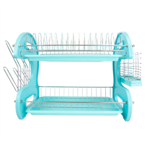Home Basics 2-Tier Turquoise Kitchen Sink Dish Drainer Dryin