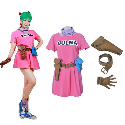 Dragon Ball Bulma Cosplay Costume Pink Dress Fancy Dress Outfit - Dbz Fancy Dress