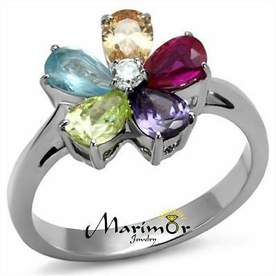 Stainless Steel1.86 Ct Mulit Color Cubic Zirconia Cocktail Ring Women
