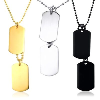 Stainless Steel Military Double Dog Tag Pendant & Necklace - Free Engraving