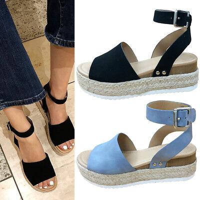 Topic Women Espadrille Jute Wrapped Platform Low Heel Wedge Heel Sandal Strap Espadrille Platform Wedges