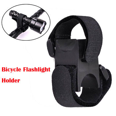 Bicycle Flashlight Clip Holder Torch Light Mount Base with Adhesive Strap Tools