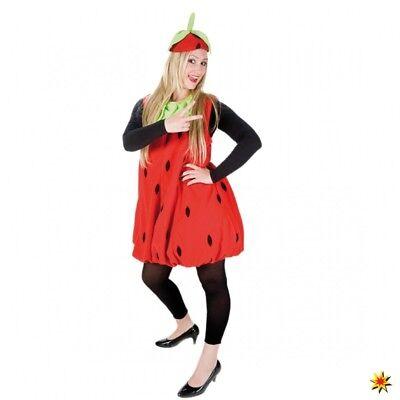 Kostüm Erdbeere STD Damen Kleid rot Mottoparty Garten Fasching Obst Frucht