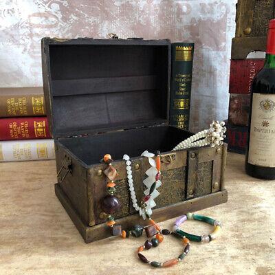 Antique Wooden Pirate Treasure Chest Box Gem Jewelry Storage Organizer Case