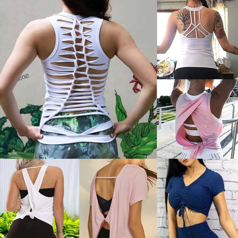 Women Yoga Tops Sports Tank Sexy Vest Open Back T Shirts Workout Strappy Tops I Ebay