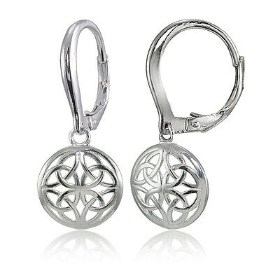 - Sterling Silver High Polished Filigree Round Dangle Leverback Earrings