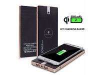 WORLDS FIRST BLACK Qi Wireless Charging Pad 2in1 8000mAh Portable Power Bank