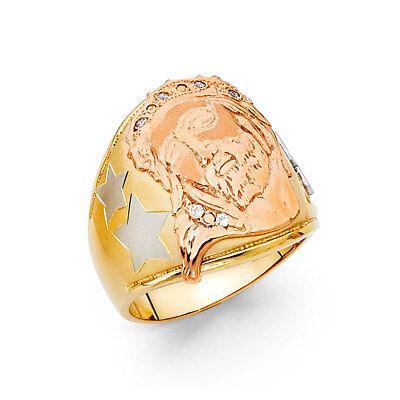 Men Real 14k Yellow White Rose Gold Religious Jesus Wedding Engagement Ring Band