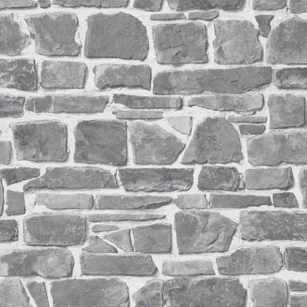 Rasch mattone muro di pietra effetto grigio lusso for Carta da parati effetto muro
