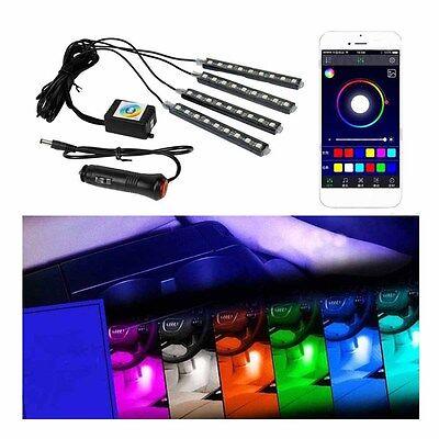 4x 9 LED Car Heavens RGB Phone App RF Control Strip Lights Interior Kit BEST