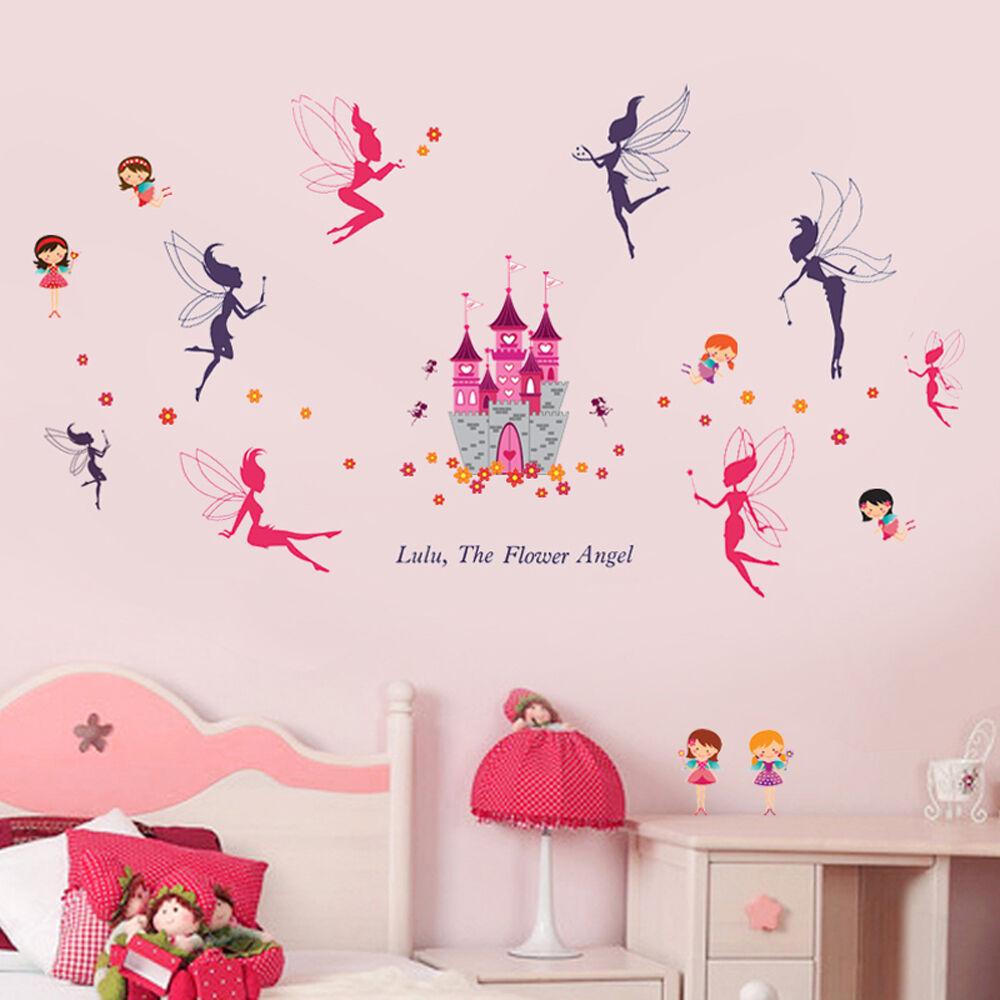 Mural Decal Paper Art Decoration Lovely Castle Fairies Wall Sticker