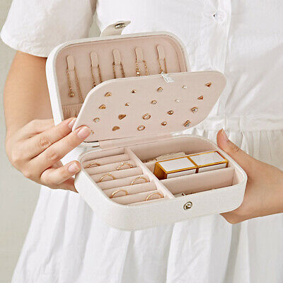 Portable Jewelry Box Organizer Leather Jewellery Ornaments Case Travel Storage Organized Travelers Leather